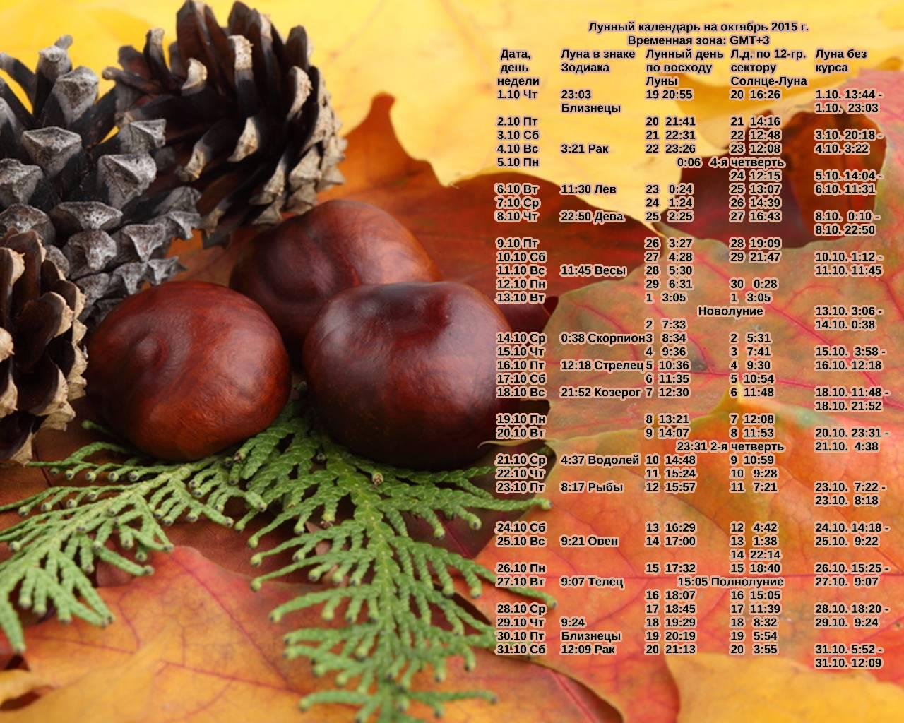 здесь лунный календарь на октябрь фото карманов варьируется зависимости