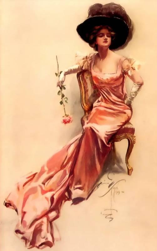 Дама с цветком, Харрисон Фишер