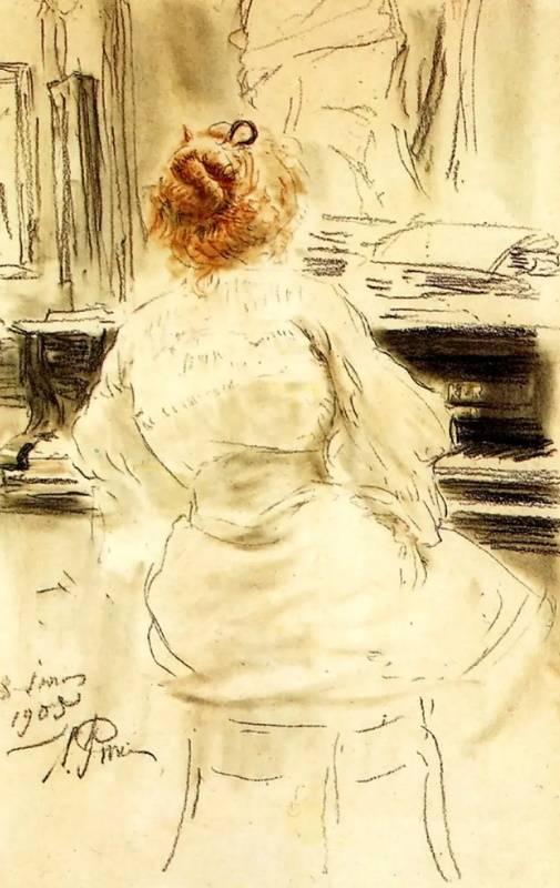 За роялем, Илья Репин, 1905