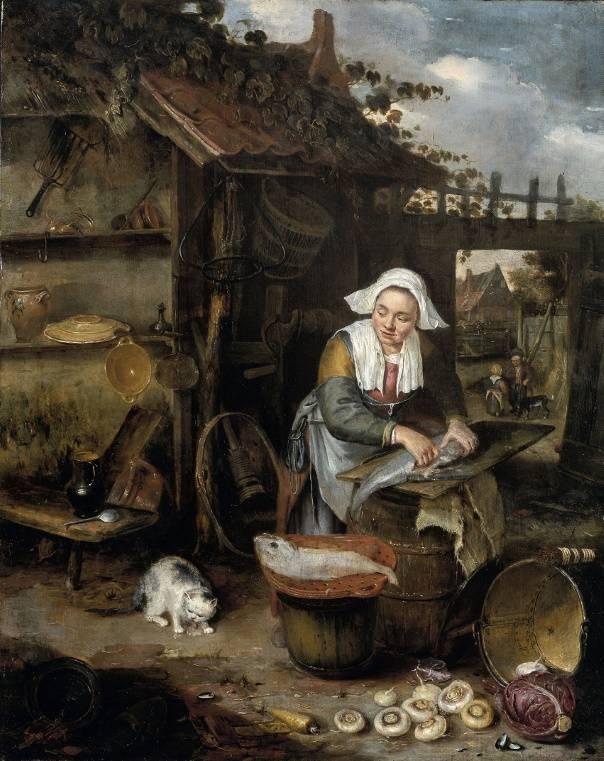 Домохозяйка чистит рыбу, Хендрик Потьюл