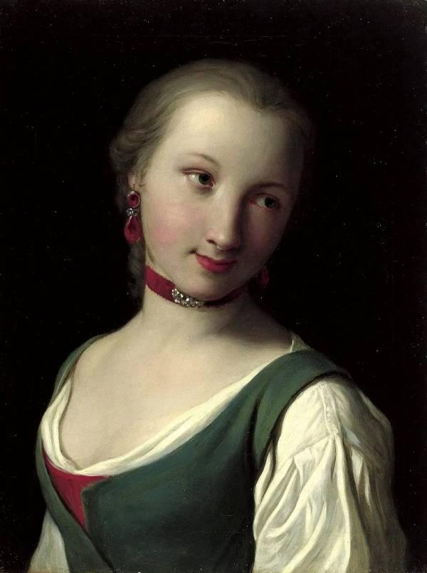 Портрет женщины с зелёным жилетом
