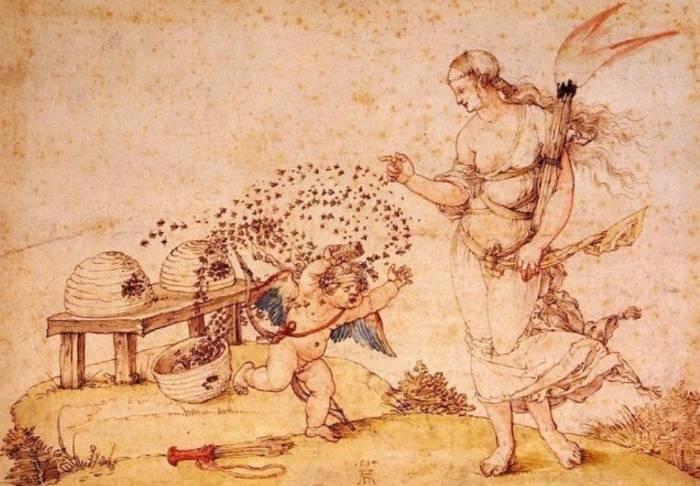 Купидон, крадущий мёд, Альбрехт Дюрер
